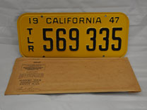 New Old-Stock California Trailer License Plates